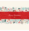Merry Christmas vintage pattern greeting card vector image