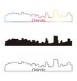 Orlando skyline linear style with rainbow vector image