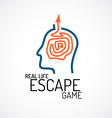 Real life escape quest game logo template vector image