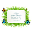Happy summer holidays banner with grass vector image vector image