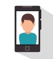 character smartphone icon desing vector image