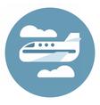 Digital aeroplane in blue circle vector image