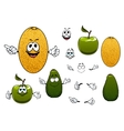 Happy melon avocado and apple fruits vector image
