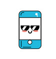kawaii cute happy smartphone with glasses vector image
