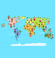 world map and kids of various nationalities vector image