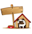 A signboard beside a doghouse with a dog vector image vector image