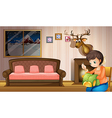 A mother sewing clothes inside the house vector image