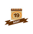 19 may calendar with ribbon vector image