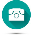 White phone icon on green background with shadow vector image