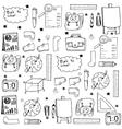 Black white school education doodles vector image