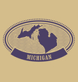 Michigan map silhouette - oval stamp vector image