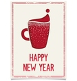 New Year poster with red coffee cup vector image