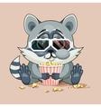 Raccoon cub watching a movie vector image