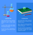textbook and chemistry tools isolated vector image