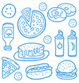 fast food collection of doodles vector image