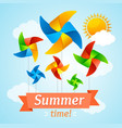 wind mill hello summer concept card vector image