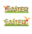 Easter flowers text and rabbits vector image