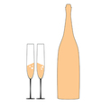 bottle and two glass vector image