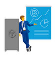 businessman show poster with bitcoin vector image