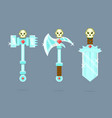 fantasy weapons set battle-ax poleax battle vector image