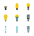 Lamp for home icons set flat style vector image