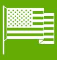 american flag icon green vector image