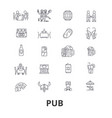 pub bar beer alchocol party brewery club line vector image