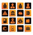 bank icon set black orange vector image vector image