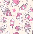 retro color pattern of pink ice creams on vector image