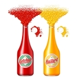 Bottles of ketchup and mustard vector image