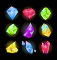 crystals or sparkling gemstones vecor icons set vector image