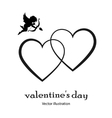 Heart icon with an angel in black style on a white vector image