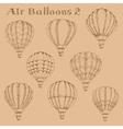 Hot air balloons in flight engraving sketch vector image