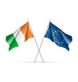 ireland and european union waving flags vector image