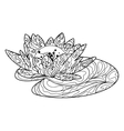 Lotus flower coloring book for adults vector image