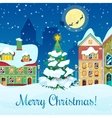 Merry Christmas Cityscape Greeting Card vector image