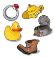 set of childrens toys and old things vector image