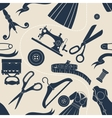 sewing accessories beige background vector image