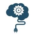 brain human wire cable plug icon vector image