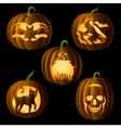 Set of Jack o Lanterns vector image vector image