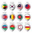 Marker from paper with flag for map vector image vector image