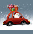 Santa Claus driving a car vector image