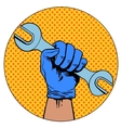 Sign of repair hand holding wrench symbol vector image