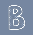 B alphabet letter with white polka dots on blu vector image