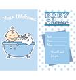 smiling baby boy in bath vector image vector image