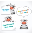 Cartoon Character Cow with Blank Banners vector image vector image