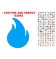 fire icon with bonus energy collection vector image