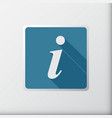 information flat button for design info square vector image
