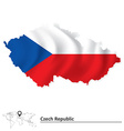 Map of Czech Republic with flag vector image