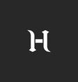 Medieval letter H logo old style design element vector image